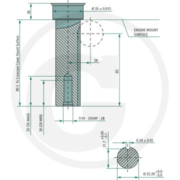 Motor LONCIN LC2P82F - 21 CP - ax: Ø 25,40mm - lungime ax: 80mm