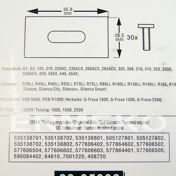 Set cutite model nou (30 cutite + 30 suruburi) pentru robot tuns gazon HUSQVARNA G1, G2, 105, 210, 220AC, 230ACX, 260ACX, 265ACX, 305, 308, 310, 315, 320, 330X, 330ACX, 420, 430X, 440, 450X