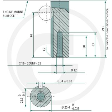 Motor LONCIN LC1P92F-1 - 12,50 CP - ax: Ø 25,40mm - lungime ax: 80mm